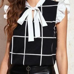 Shein black&white plaid sleeveless top with tie